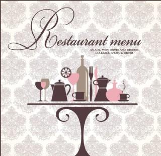 古典花紋歐式花紋菜單封面設計圖片